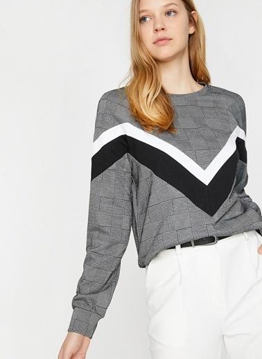 Koton Koton Siyah-Beyaz Ekoseli Sweatshirt Siyah